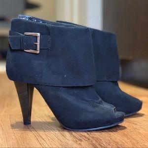 Black Peep-Toe Ankle Booties, SM New York